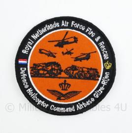 RNLAF Royal Netherlands Air Force Fire & Rescue embleem - Defence Helicopter Command Airbase Gilze-Rijen - met klittenband - diameter 9 cm