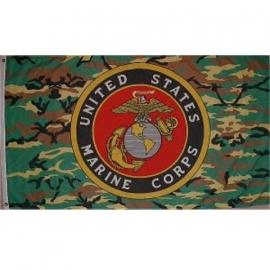 Vlag USMC US Marine Corps - camo met logo