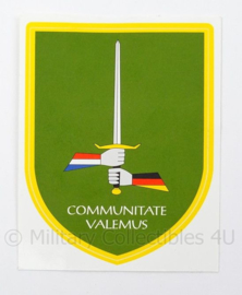 Nederlands Duitse Korps voertuig sticker - Communitate Valumus - afmeting 9 x 11 cm - origineel