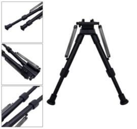Tactical Rifle Bipod with adapter geweersteun kunststof - 25 cm hoog – ZWART