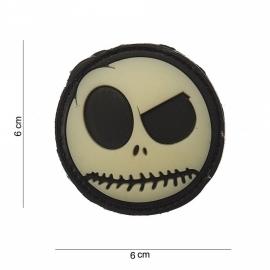 Embleem 3D PVC Nightmare Smiley rond - met klittenband - 6 cm. diameter