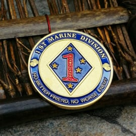 US Army 1st Marine Division coin - No better friend, No worse enemy - 40 mm diameter