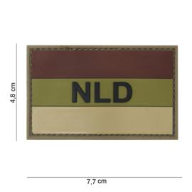 "Uniform landsvlag  met klittenband Nederland embleem 3D PVC met tekst ""NLD"" Bruin/ ecru - 7,5 x 4,7 cm"