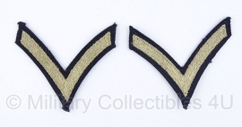 Rank stripes Private first class PFC - khaki - origineel WO2 US