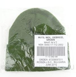KL Nederlandse leger muts wol groen - nieuw in verpakking - origineel