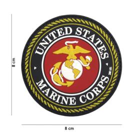 Embleem PVC 3D PVC  met klittenband - USMC United States Marine Corps - 8 x 8 cm.