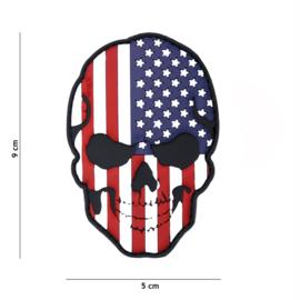 Embleem PVC 3D PVC  met klittenband - Skull met USA  vlag  - 9 x 5 cm.