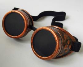 Piloten bril of brommer bril Steampunk bril  - Vintage Copper look met donkere glazen