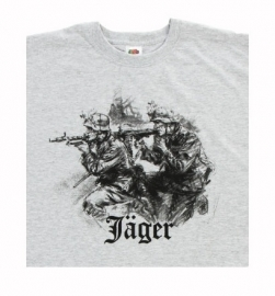 T shirt Jäger - grijs - Merk Fruit of the Loom - Small of XXL