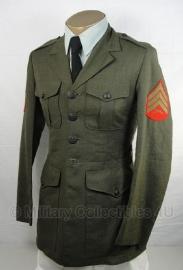 USMC US Marine Corps Gala Dress jacket groen met rode Sergeant rangen  MET BROEK - origineel