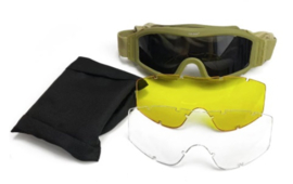 Tactical Army Goggle  - nieuw - met 3 soorten glazen - COYOTE