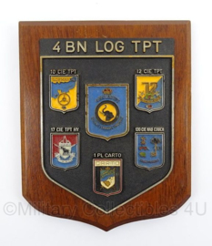 Belgische leger wandbord Eenheid 4 Bataljon Logistiek TPT - afmeting 18,5 x 22,5 cm - origineel