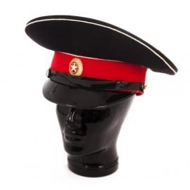 Russische Kadetten pet zwart met rood - maat 55 tm. 59  - origineel