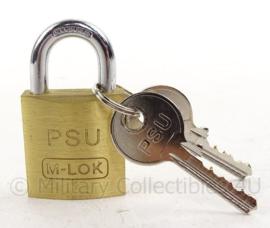 Nederlands Leger PSU hangslot M-lok - messing - met 2 sleutels - nieuw in de verpakking - 3 x 6 cm - origineel