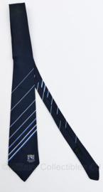 Stropdas Stadtpolizei Zurich Zwitserland - donkerblauw  met blauw witte strepen - gedragen -  origineel