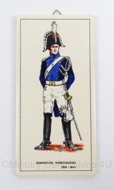 KMAR Marechaussee wandbord/tegeltje porselein 1814/1844 - afmeting 10 x 20 cm - origineel