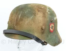 Replica Wo2 Duitse M40 Waffen SS Normandie camo helm met double decal - mooi verouderd