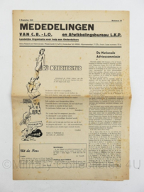 Krant Mededelingen CB LO van 3 augustus 1945 - Landelijke organisatie voor hulp aan onderduikers - origineel
