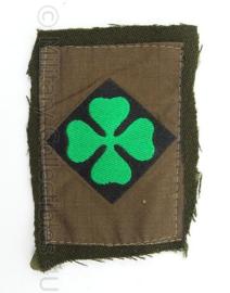 KL Landmacht DT embleem klavertje 4, 4de Divisie, van uniform geknipt - afmeting 7,5 x 6 cm - origineel