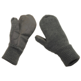 Zwitserse leger wollen winter handschoenen wanten met leren handpalm - grijs - ongebruikt - maat 9 - origineel