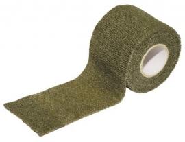 Stoffen camouflage tape voor uitrusting en dergelijke -   5 cm. breed en  4,5 meter lang  -  GROEN