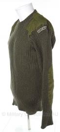 Korps Mariniers wollen trui met straatnaam ronde hals - groen - maat 4 = Medium - origineel