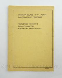 KMAR Marechaussee Instructieboekje Ontwerp bijlage VS 11-3 Radiotelefonieprocedure - afmeting 15 x 21 cm - origineel