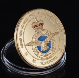 Britse British RAF Royal Air Force coin Over Luxembourg 1940-1945 - Never was so much owed by so many to so few - W. Churchill - diameter 40 mm