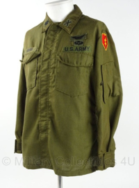 US Army Vietnam oorlog Flyers shirt Hot weather - rang Major - veel insignes - gedateerd 1971 - maat M/short - origineel