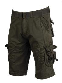 Vintage survival shorts + trouser belt prewash korte broek - Groen