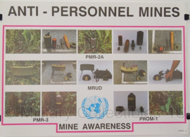 UN United Nations leger kaart Anti-Personnel Mines - 69 x 49 cm - origineel