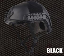 DSI en Politie model MICH 2002 helm met rails, velcro EN ingebouwde bril - BLACK
