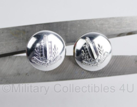 1 PAAR Gemeentepolitie knoop voor de kin riem van de pet 14 MM zilver PER PAAR - origineel