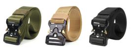 Tactical belt met Quick Release sluiting - Nylon - lengte 125 cm - Groen, Coyote of Zwart