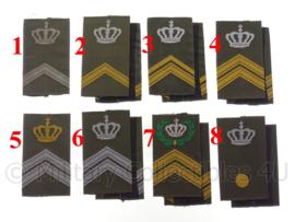 KL Nederlandse leger GVT schouderstukken met kroon (en krans) - verschillende rangen - origineel