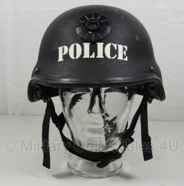 Politie Special Forces MICH helm zwart - met opdruk POLICE en lamp Mount - origineel