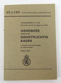 KL Landmacht Handboek voor het dienstplichtig kader uit 1973 - VS 2-1351 - afmeting 20 x 14 cm - origineel