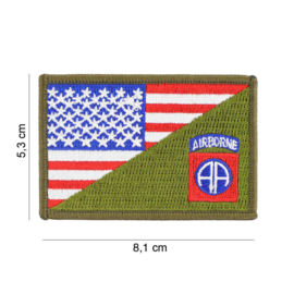 Embleem stof US 82nd Airborne Division small with American flag and GREEN - 8,1 x 5,3 cm.