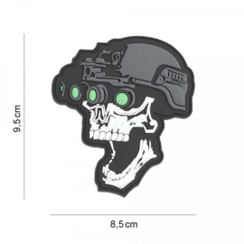 Embleem Night Vision Skull - wit - met klittenband - 3D PVC - 9,5 x 8,5 cm