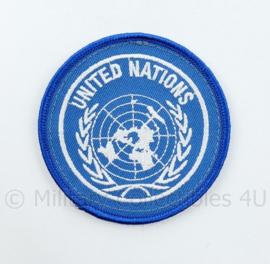 United Nations embleem felblauw - met klittenband - diameter 8 cm - origineel