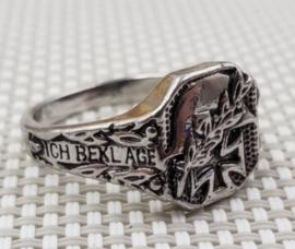 """Duitse Ring met Duits Kruis en Stahlhelm  """"Ich beklage einen Helden"""" - replica - size 7, 8, 9 of 10"""