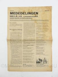 Krant Mededelingen CB LO van 27 juli 1945 - Landelijke organisatie voor hulp aan onderduikers - origineel
