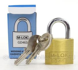 Nederlands Leger hangslot M lok GD 463 - messing - met 2 sleutels - nieuw in de verpakking - 7 x 4 cm - origineel