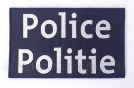 Belgische donkerblauwe Politie Police embleem rugstrook - met klittenband - 24,5 x 15 cm