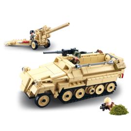 Sluban (geen lego) WO2 Duitse Halftrack met Flak geschut en sluipschutter - type M38-B0695