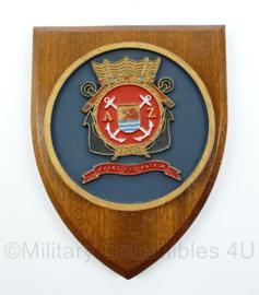 "Koninklijke Marine wandbord - ""Pugno pro Patria"" - afmeting 19 x 14 x 1,5 cm - origineel"