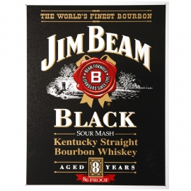 metalen plaat groot Jim Beam black - 41 x 32 cm