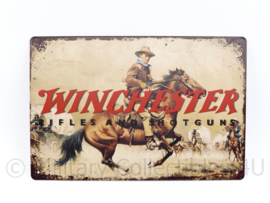 Metalen plaat Winchester Rifles and Shooting - 30 x 20 cm.