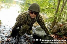 Fotoshoot met model in US legerkleding