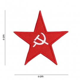 USSR Rode ster met Hamer & Sikkel embleem stof - 6 x 6 cm